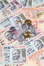 Indian rupee notes and coins closeup of Royalty Free Stock Photography