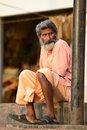 Indian sadhu holy man at a ghat in rishikesh Royalty Free Stock Images