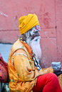 Indian sadhu holy man at a ghat in rishikesh Royalty Free Stock Photos