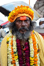 Indian sadhu holy man at a ghat in varanasi Stock Photography