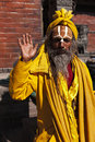 Indian sadhu welcomes Royalty Free Stock Photo