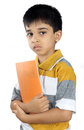 Indian school boy with textbook depressed Royalty Free Stock Image