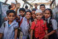 Indian school boys and girls mumbai india january children after in dharavi slum Royalty Free Stock Photos