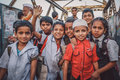 Indian school boys and girls mumbai india january children after in dharavi slum post processed with grain texture colour effect Stock Photo