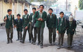Indian school boys sheoganj india january eight students walk to a nearby early morning in jodhpur india the passing of the right Royalty Free Stock Photography