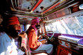 Indian sikh drivers inside a local truck in india leh april driving colorful Royalty Free Stock Image
