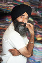 Indian sikh man in street store Royalty Free Stock Photo
