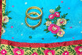 Indian silk saree pure worn by the women for wedding and festivals made of gold zari and pure matching stone bangles Royalty Free Stock Photos