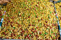 Indian snack fried mixture is a mix of namkeen dry fruits and spices Royalty Free Stock Image