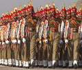 Indian soldiers marching in bright red and gold headdress parading down the raj path in preparation for the annual republic day Stock Images
