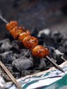 Indian street food vendor making mutton or non vegetarian kababs Royalty Free Stock Photo