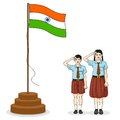 Indian student saluting flag of India Royalty Free Stock Photo