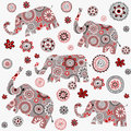 Indian style background with patterned elephants and flowers over white Royalty Free Stock Images
