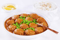 Indian Style Meatballs with Peas Royalty Free Stock Photography