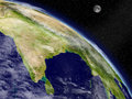 Indian subcontinent from space on planet earth viewed highly detailed planet surface and clouds elements of this image furnished Royalty Free Stock Image