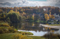 Indian summer. River Berezina. City of Borisov. Belarus. Royalty Free Stock Photo