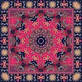 Indian tablecloth with flower - mandala. Rug, scarf, pillowcase. Royalty Free Stock Photo