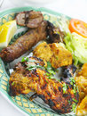 Indian Tandoori mixed grill meal Stock Photos