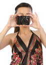 Indian teenage girl with camera Stock Photos