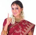 Indian teenage girl showing one finger Royalty Free Stock Photography