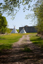 Indian Teepees outside Fort Royalty Free Stock Photography