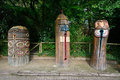 Indian totems in bellewaerde park belgium Stock Photo