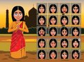 Indian Traditional Woman Cartoon Emotion faces Vector Illustration Royalty Free Stock Photo