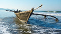 Indian traditional wooden fishing boat goa Royalty Free Stock Photography