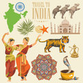 Indian travel colorful template. Indian detailed set. Travel to India. I love India. Vector illustration in vintage style Royalty Free Stock Photo
