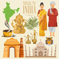 Indian travel colorful template. Indian detailed set. Welcome to India. I love India. Vector illustration in vintage style Royalty Free Stock Photo