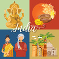 Indian travel colorful template. Indian set. Travel to India. I love India. Vector illustration in vintage style Royalty Free Stock Photo