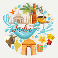 Indian travel colorful template. Indian set. Welcome to India. I love India. Vector illustration in vintage style Royalty Free Stock Photo