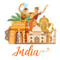 Indian travel template on white background. I love India. Vector illustration in vintage style
