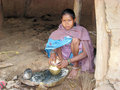 Indian tribal woman in the village Stock Image