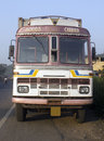 Indian truck goods carrier stop on the road Royalty Free Stock Images