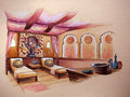 Indian turkey spa design perspective drawing with water color painting artistic paint Royalty Free Stock Photography