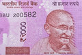 Indian Two Thousand Rupee Note with Mahatma Gandhi Portrait Royalty Free Stock Photo