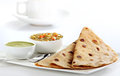 Indian vegetable curry and chapati homemade bread served with delicious Stock Photo