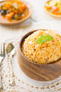 Indian vegetarian food biryani rice and curry dhal on dining table Stock Photo