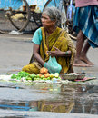 Indian vendor selling vegetables on the road Royalty Free Stock Photos
