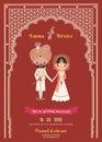 Indian Wedding Bride & Groom Cartoon Save The Date Card Royalty Free Stock Photo