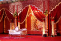 Indian wedding stage mandap a beautiful shot at a ceremony at night in city palace jaipur india Stock Image