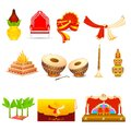 Indian wedding vector illustration of object Royalty Free Stock Images