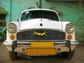 Indian white car Ambassador  taxi service Royalty Free Stock Photo