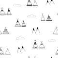 Indian wigwams minimalistic seamless background