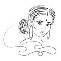 Indian woman. Beautiful attractive Indian woman. Vector drawing. Black and white image. Royalty Free Stock Photo