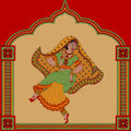 Indian woman dancer background with dancing and pattern frame Royalty Free Stock Photo