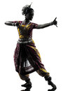 Indian woman dancer dancing  silhouette Royalty Free Stock Photos