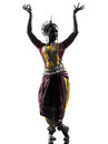 Indian woman dancer dancing  silhouette Royalty Free Stock Photography