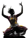Indian woman dancer dancing silhouette one in studio isolated on white background Royalty Free Stock Image